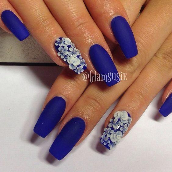 Blue Nail Polish One Finger: Ideas Para Decorar Las Uñas De Azul